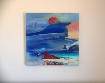 Dimensions, original surreal oil painting on canvas by John Hibbert.