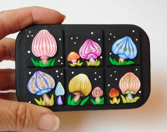 Recycled Altoid Tin, Trippy Mushrooms polymer clay covered box, small storage container
