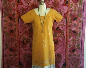 Orange and Metallic Silver Middle Eastern Tunic Dress