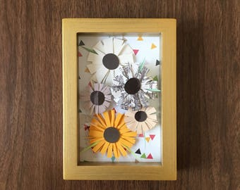 Paper Collage Framed Picture // Gold