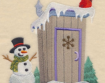 Christmas Outhouse HIS Embroidered Flour Sack Hand/Dish Towel