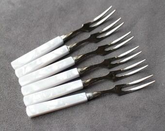 Vintage Japanese Pickle Forks, Set of 5 Pickle Forks, Olive Forks, Appetizer Forks, Small Stainless and Mother of Pearl Forks, Japan