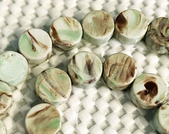 Marbled multi Green Porcelain flat beads, 1 strand 28 beads