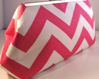 Pink  Chevron Clutch