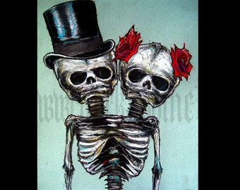 """Print 11x14"""" - Couple Skeletons Skull Top Hat Roses Flowers Halloween Day of the dead Gothic Wedding Love Conjoined Twins Sideshow"""