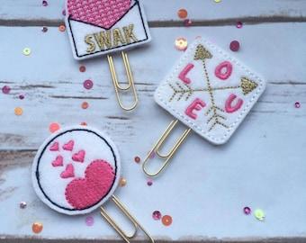 Valentines Planner Paperclip Set of 3   Planner Supplies   Planner Accessories   Hot Pink   Kikki K   MAMBI Happy Planner   Filofax