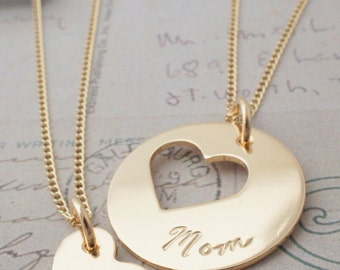 Personalized Mother Daughter Jewelry - Custom Heart Necklace Set in 14K Gold Filled - Jewelry Gifts for Mom and Daughter