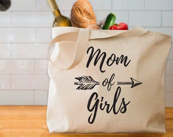 Mom of Girls tote bag girl mom tote bag gift for mother of girls tote bag
