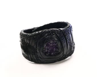 Earthquake textured amethyst leather bracelet