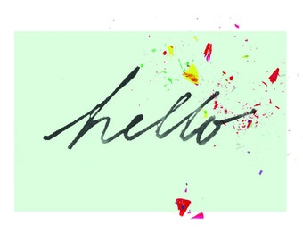 4 x 6 // Festive Hello // Art Print // Notecard // for her // for him // color mix