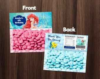 Personalized Princess Ariel The Little Mermaid Bag Topper Printable Birthday Party Polka Dots Baby Blue Printable DIY - Digital File