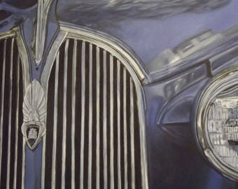 Blue Plymouth Print of Original Oil Painting by Amy VanGaasbeck vintage car