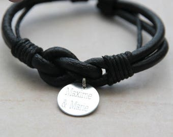 Man or mixed infinity personalized black leather bracelet