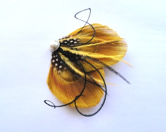 TALIA II in Gold and Black Peacock Feather Hair Clip, Fascinator