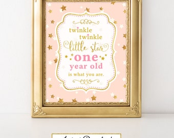 Twinkle Little Star One year old is what you are Birthday Party Sign Printable Twinkle Little Star Birthday First Birthday Decor FBRS006