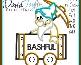 Mine Train Dwarf Bashful Embroidery Design 4x4 5x7 6x10 7x10 8x10 9 format-Applique Instant Download-DTDigitizing Snow White and the 7 seven