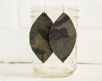 """3 1/2"""", recycled, camouflage earrings, army green, camo, leather feather earrings, leaf jewelry, earrings, tassel earrings, stacylynnc"""