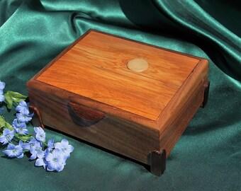 "Wooden Keepsake / Treasure Box, ""Moonscape"", Handmade, Black Walnut, Dramatic Grain, OOAK (Item No.083)"