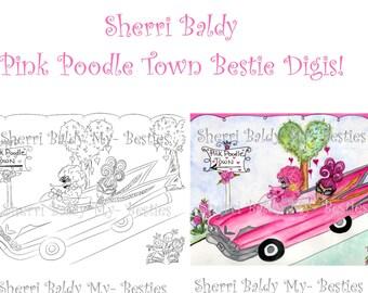 DESCARGA instantánea Digital Digi sellos grandes ojos muñeca Pink Poodle ciudad Digi de muñecas de cabeza grande por Sherri Baldy
