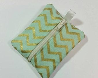 Tiny zipper pouch / earbud case / ear bud pouch / coin pouch / jump stick case / mini zipper pouch | Gold Chevron on Mint