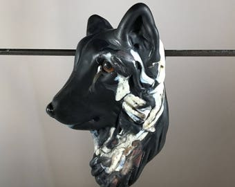 New!  German Shepherd Dog Focal Lampwork Glass Bead
