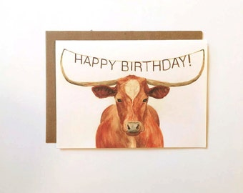 Farmer birthday card etsy texas longhorn happy birthday card birthday cards for ranchers birthday card for boyfriend bookmarktalkfo Gallery