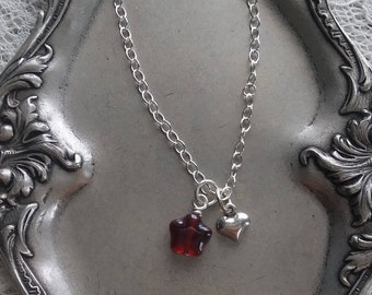 Valentine's Day Silver Heart and Red Star Charm Necklace