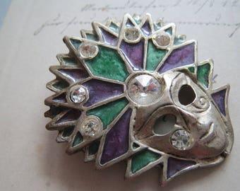 Vintage Brooch, * mask-Venezia * Carnival in Venice brooch Venetian mask, enameled brooch, mask with rhinestones, lapel brooch
