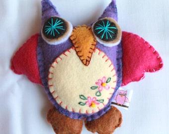 Plush Felt Owl Hanging Ornament  Baby Owl, felt decoration, felt ornament