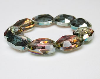Crystal Statement Bracelet / Aurora Borealis / Luxe / Glam / Large Crystals / Crystal / Bracelet / Chunky / Bold / Fabulous / Gift for Her