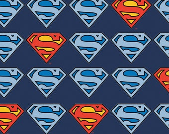 Marvel Fabric, Superman Fabric: Camelot Marvel Superman Shields - Superman Logo Red/Blue  100% cotton FLANNEL fabric by the yard (CA730)