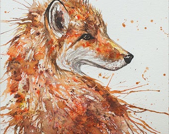 Aceo Print, Fox Portrait. From an Original Painting by EMMA STEEL. Personally signed. ESHA155AC