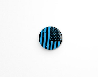 "Button - American Flag Button - Flag Button - USA - Pin-  1"" Button - 80s - PUNK - GRUNGE - political button"
