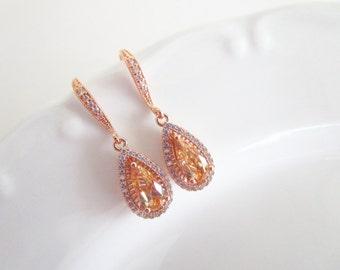 Champagne Earrings,Teardrop Earrings,Peach Champagne Earrings,Bridal Earrings,Bridal Jewelry,Rose Gold Earrings,Rose Gold Bridal Jewelry