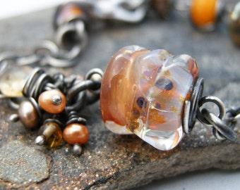 orange glass bead bracelet, citrine bracelet, glass and chain braclet