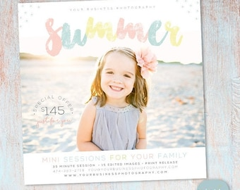 ON SALE Summer Mini Session Photography Template - Photoshop - IH017 - Instant Download