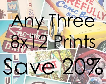 Choose Your Own Set of Three 8x12 Prints | Save 20% on Set of Three Fine Art Photographs | Personalized Affordable Home Decor
