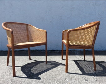 Pair Of Ward Bennett Mid Century Modern Oak And Caned Chairs For Brickel  Associates.