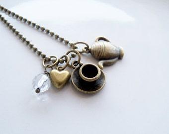 Tee-Liebhaber Charm Halskette - Tee Schmuck - Cuppa Tea Kette - Teekanne und Teetasse Charm Anhänger - benutzerdefinierte Charm Schmuck - Auswahl-Bead