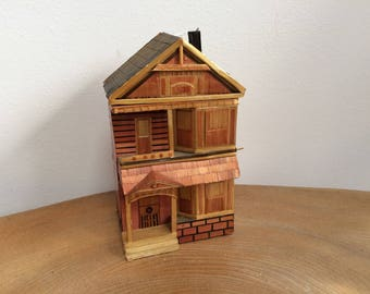 Vintage Straw Work Miniature 'House' Trinket Box - made in China