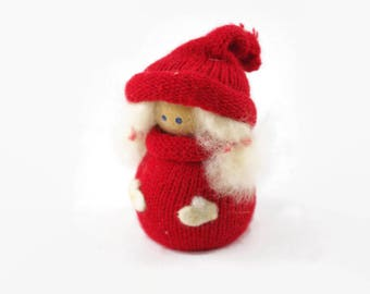 Vintage Swedish Tomte Figurine, Scandinavian Christmas Decor, Tomte Girl in Red Sweater and Hat, Made in Sweden