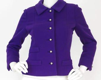 Versailles France 1960's Vintage Quality Mod Purple Wool Silver Button Jacket Sz XS S