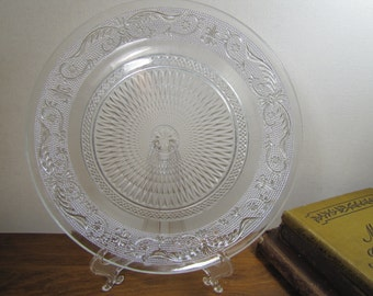Vintage Sandwich Pressed Glass Plate