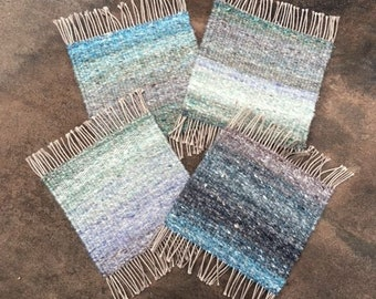 Handwoven Down By the Sea - Mug Rugs, Set of 4, coasters