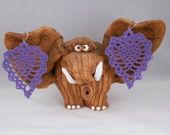 Crochet Earrings • Crochet Earring Jewelry • Purple Earrings • Handmade Earrings