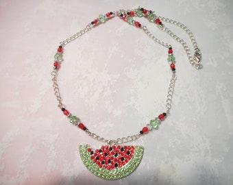 Crystal Rhinestone Watermelon Slice Chain Necklace