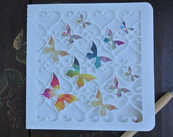 Greeting card - cut white color, grid hearts - pale yellow inset butterflies - any occasion