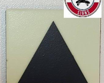 "Photoluminescent Door Identification Letter ""Triangle"" Sign / Glow In The Dark ""Door Symbol"" Sign Heavy Duty (Aluminum Sign 1.5 X 1.5)"