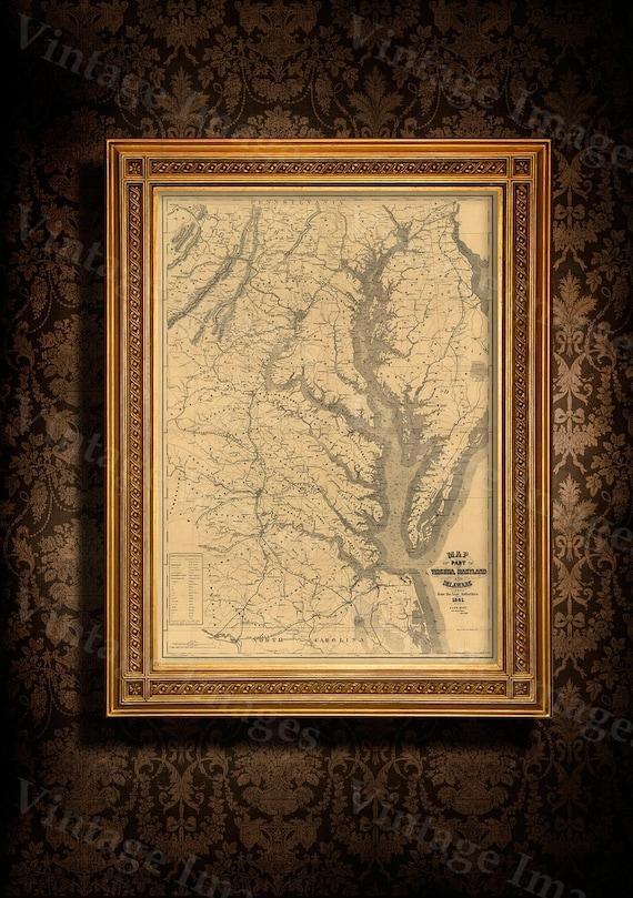 Chesapeake Bay Map 1861 Restoration decor Style Vintage coastal map of Chesapeake Bay Maryland Virginia Delaware Old Nautical chart wall map
