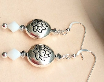 Silver Lotus Flower and Swarovski Crystal Earrings